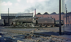 73071 Patricroft shed.  March 5th, 1967 (Brit 70013 fan) Tags: manchester br shed railway steam lancashire depot british standard railways steamengine mpd britishrailways 26f patricroft 73071