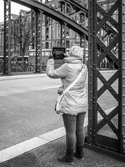 a bridge to keep (mahohn) Tags: street bridge bw monochrome hamburg brcke 34 speicherstadt fujix10