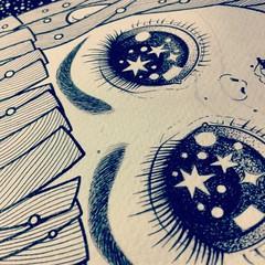 ink (Anita Mejia) Tags: girl illustration pen ink paper stars mexico eyes drawing draw universe anitamejia