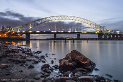 run110 (mickyfooj) Tags: longexposure water night canal runcorn halton runcornbridge silverjubileebridge