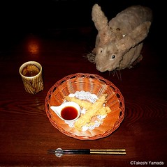 Dr. Takeshi Yamada and Seara (Coney Island Sea Rabbit) at the Shinjuku Japanese Restaurant (Beffet) in Brooklyn, NY on April 28, 2016.  20160428Thu DSCN5157=2030C.. shrimp tempura with plenty of broth (amazing!) (searabbits23) Tags: ny newyork sexy celebrity rabbit art hat fashion animal brooklyn sushi asian coneyisland japanese star restaurant tv google king artist dragon god manhattan famous gothic goth uma ufo pop taxidermy vogue cnn tuxedo bikini tophat unitednations playboy entertainer oddities genius mermaid amc mardigras salvadordali performer unicorn billclinton seamonster billgates aol vangogh curiosities sideshow jeffkoons globalwarming mart magician takashimurakami pablopicasso steampunk damienhirst cryptozoology freakshow seara immortalized takeshiyamada roguetaxidermy searabbit barrackobama ladygaga climategate  manwithrabbit