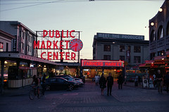 Pike Place Public Market (Orion Alexis) Tags: seattle street travel light usa film public sign analog 35mm evening washington neon place market analogue 135 pike