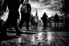 Roma (francesco_if ) Tags: street city people blackandwhite rome roma clouds walking stripes d3 biancoenero