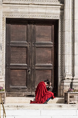 There are many different ways to pray (susanrm8) Tags: street nyc red church fuji manhattan homeless prayer
