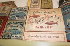 Antique cookie, cracker, and chocolate boxes (quinet) Tags: germany antique chocolate grocery chocolat kuchen ancien antik picerie zwieback kemm 2013 lebensmittelgeschft domnedahlem schocoladen chocoladen adlercacao krebsefische