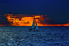 sailboat, sunset & storm - Tel-Aviv beach (Lior. L) Tags: sunset sea storm sailboat seascapes