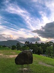 Stone bull and clouds (NettyA) Tags: sunset art clouds rural countryside artgallery au australia nsw newsouthwales tweed 2016 murwillumbah rockanimal appleiphone6 tweedregionalgallery southmurwillumbah margaretolleyartgallery margaretolleygallery