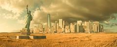 Yesteryear of Tomorrow - NYC Edition (ShutterJack) Tags: america apocalypse apocalyptic bay city cityscape destruction downtown driedup ellisisland field fieldsofgrain future globalwarming grain liberty lowermanhattan manhattan newyork postcard skyrise statueofliberty storm uppernewyork wasteland