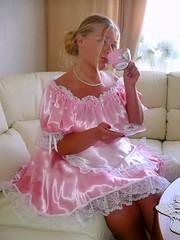 Naughty maid (Paula Satijn) Tags: pink hot cute sexy cup girl shiny uniform dress tea lace girly gorgeous silk adorable skirt apron satin maid frenchmaid