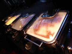 Hot foods -- bacon, eggs, sausage etc. (seikinsou) Tags: summer food hot breakfast restaurant hotel bacon midsummer sweden egg sausage diningroom meal umea scandic