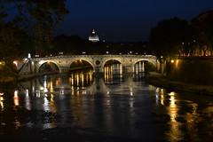 Tevere (ilaaash) Tags: bridge light italy roma night river landscape italia basilica tevere luci sanpietro riflessi