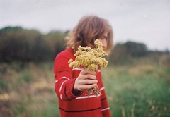 (Hijo de la Tierra.) Tags: film analog 35mm analogue grain boy longhair blond flower flowers marcela nature countryside portrait lifestyle red hand memories uruguay