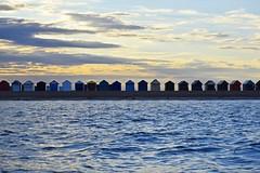 Calshot Beach Huts (mme1998) Tags: sunset sun beach evening coast nikon hampshire hut dslr beachhuts calshot 55200mm d3300