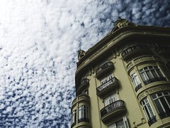 The white safety net (Riccardo Mori) Tags: valencia building window architecture sky cloud white iphone balcony
