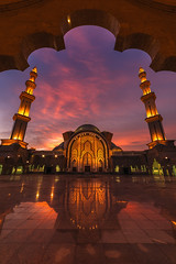 Golden Reflections (peter stewart photography) Tags: masjid wilayah persekutuan federal territory mosque kl kuala lumpur malaysia evening sunset golden hour arch architecture tower warm islam reflection portrait copy space