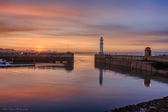 Newhaven in the Gloaming (MilesGrayPhotography (AnimalsBeforeHumans)) Tags: city uk sunset sky urban sunlight lighthouse water skyline canon reflections lens landscape photography eos golden scotland spring haze edinburgh exposure glow harbour britain dusk wide scenic shore usm lothians ef 1740mm canonef1740mmf4lusm hdr gloaming blending waterscape 6d waterscapes f4l auldreekie nighfall ef1740mm canoneos6d