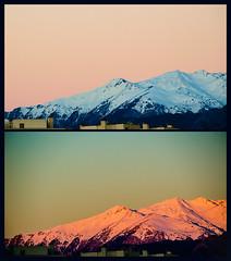 Unedited spring (Melissa Maples) Tags: morning pink blue mountain snow sunrise turkey dawn spring nikon diptych asia balcony trkiye antalya nikkor vr afs  18200mm  f3556g  18200mmf3556g d5100