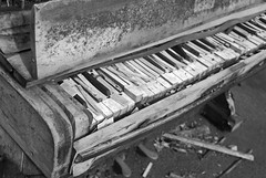 Old Piano #4 (B&W) (♥ Emma in Wonderland ♥) Tags: old urban blackandwhite music black abandoned keys landscape decay urbandecay piano hampshire instrument upright farnborough dumped