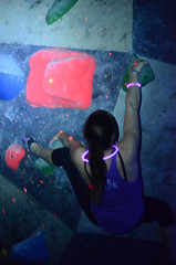 GRO_8263 (WK photography) Tags: chalk climbing blacklight bouldering grotto headlamp rockclimbing glowsticks guelphon rockshoes guelphgrotto