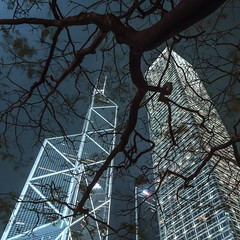 Double Statuesque (Gemma_Alagar_Miras) Tags: china blue building tower night hongkong exposure turquoise central center kong tall iconic bankofchina cheung cheungkongcenter gemmamiras