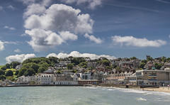 Swanage :-) (PMGarbowska Photography) Tags: ocean sea summer england sky people sun sunlight green beach grass sunshine clouds swimming countryside town fishing holidays waves village south bluesky surfing hills dorset summertime sunbathing