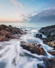 Late evening after sunset (MattWalkleyPhotography) Tags: sea seascape colour water clouds landscape seaside nikon rocks cornwall colours coverack nikond810 1424mm