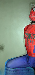 Spider-man bagged for some breathplay 4 (uomoragnolegato) Tags: control mask cosplay breath bondage tights gloves spidey spandex lycra catsuit encasement suffocation zentai