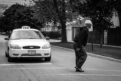 (143/366) Walk, Not Ride (CarusoPhoto) Tags: street bw white man black car 35mm project john prime photo al day pentax walk taxi 365 everyday crosswalk caruso smc mundane gentleman banal ordinary ks2 f24 366 pentaxda carusophoto