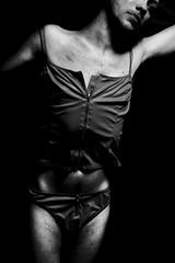 Anna. (jksonnen) Tags: red portrait selfportrait blackbackground dark lingerie creepy crossdress scars 6d