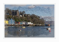 Hotel on the Hill (Audrey A Jackson) Tags: homes sea sky colour water architecture clouds boats hotel harbour hill tobermoray sccotland canon60d 1001nightsmagiccity smartphotoeditor