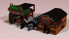Western Wells Fargo And Smith And Stable front 3 (RedRoofArt) Tags: lego moc ldd western town cowboy
