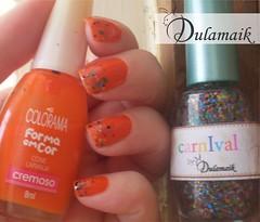 Desafio das 31 Unhas: 2 - Unhas Alaranjadas (Dulamaik) Tags: glitter laranja indie desafio colorama repetido dulamaik