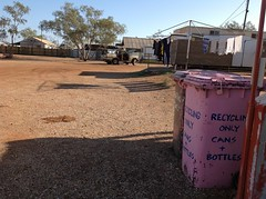 Our campsite behind the Pink Roadhouse at Oodnadatta (spelio) Tags: may 2016 travel trip kv bins pink recycling campsite caravan park