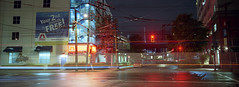 2nd Month is Free (Orion Alexis) Tags: street old panorama canada film sign vancouver analog port 35mm lights neon kodak widescreen 400 fujifilm analogue cinematic xpan ultramax tx1