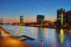 Main with view to Westhafen (stephan.hickisch) Tags: city blue light urban orange building night river germany evening frankfurt main financial westhafen metropole sundowner friedensbrcke