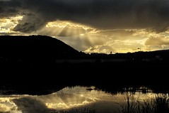 Sun Rays and Reflections (Cariboo Finn) Tags: sun water clouds reflections bc marsh rays williamslake scoutisland