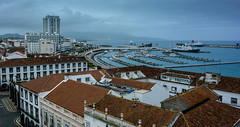 Ponta Delgada (free3yourmind) Tags: travel houses sea rooftop portugal clouds port buildings boats harbor day cloudy ships azores saomiguel pontadelgada