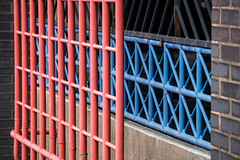 Car park abstract (Ruth Flickr) Tags: england midlands uk worcester abstract bars blue carpark city local localityhistoric pattern red x