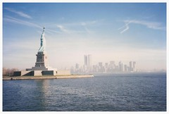 Big Apple ... Before (maorlando - God keeps me as I lean on Him!!) Tags: newyorkcity nyc bigapple skyline statueofliberty reflection newyorkharbor twintowers before911