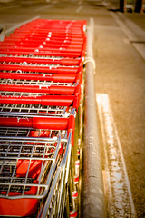 Abandoned Shopping Trolley Hotline (Spacemonkey1999) Tags: park red urban car shopping focus dof trolley row stack sa southaustralia coles 1650mm lightroom5 samsungnx3000