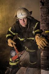 Firefighter 02 (herbertschuette) Tags: firefighter brand feuer feuerwehrmann brandbekämpfung