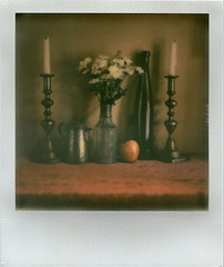 Still life of 11/3/2015 (L.J.Buddle) Tags: stilllife apple polaroid sx70 aliens bouquet candelabras