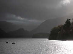 Rainy day on Derwentwater (zapperthesnapper) Tags: lake derwentwater rain boats cumbria england rural landscape minimalist minimal simplicity simple moody water boat rainyday wet lakedistrict canonpowershot canon canon3200 pointandshoot
