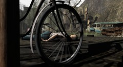 Behind the bicycle (Ricco Saenz) Tags: sl secondlife amusementpark postapocalyptic
