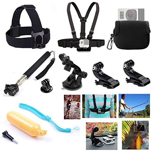 GOGOING 8-in-1 Accessories Kit for Gopro Hero4 Black/Silver Hero HD 3+/3/2/1 Camera, Head Belt Strap Mount+ Chest Belt Strap Mount+ Extendable Handle Monopod + Car Suction Cup Mount Holder + Floating Handle Grip + 2 PCS Tripod Mount Adapter+2 PCS Gopro Su