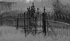 Cemetery Fence (Explored) (N.the.Kudzu) Tags: bw cemetery rural fence georgia country morgancounty explored dxoopticspro10