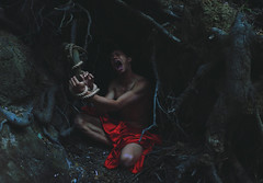 Left behind to starve (Carlos Castañeda') Tags: red shirtless inspiration selfportrait tree up photoshop photography pain blood alone darkness forrest skin roots rope explore fabric hunger scream cave hungry tied suffering edit darkart starve conceptualphotography darkartphotography brookeshaden