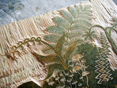 """(Detail) Yellow Block for """"LOG"""" Woodcut (Tugboat Printshop) Tags: wood fern nature forest log carving birch plywood woodcut woodcarving woodblock tugboatprintshop"""