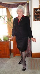 I Am A 69-Year Old Woman, And Proud Of It! (Laurette Victoria) Tags: woman lady silver suit heels hosiery laurette