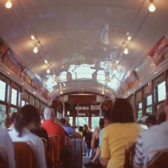 Streetcar (justinbrenneman) Tags: new people lights orleans mat 124 velvia medium format 100 nola velvia100 streetcar fujichrome yashica mat124